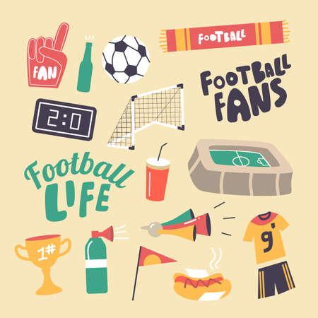 Set of Icons Football Fans Attribution Theme. Soccer Ball, Gates and Stadium, Winner Cup, Sportsman Uniform, Soda Drink Illustration
