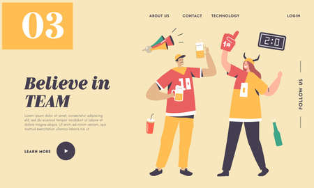 Football Fans Cheering for Team Victory and Success Landing Page Template. Characters with Funny Attribution Illusztráció