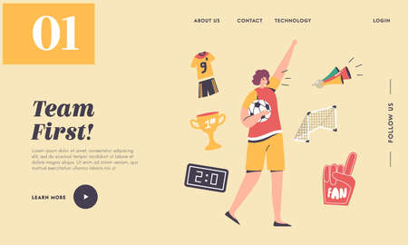 Cheer on Soccer Sport Match League Landing Page Template. Football Fan Girl Cheering for Team Victory and Success Illustration