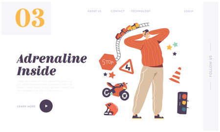 Xtreme Sport Activity Landing Page Template. Excited Male Character Engage Adrenaline Recreation and Extreme Illustration
