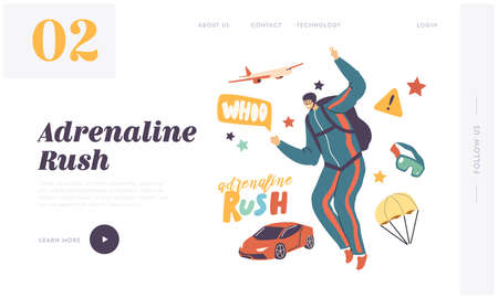 Skydiving Parachuting Sport Landing Page Template. Skydiver Male Character Jump with Parachute. Parachutist Adrenaline