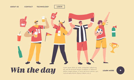 Friends Having Fun on Sport World Championship Landing Page Template. Young Football Supporter Fans Characters Cheering