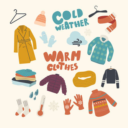 Set Icons Warm Clothing Theme. Knitted Hat and Scarf, Coat, Hanger and Mittens with Pullover and Thermometer, Snowflake Illustration
