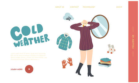 Knitted Things for Cold Weather Landing Page Template. Female Character in Warm Dressing Try On Knitted Hat at Mirror
