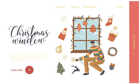 Man Decorate Window with Christmas Landing Page Template. Garland Decor, Balls, Socks and Fir Tree Branch. Xmas Holidays