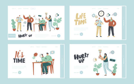 People and Time Landing Page Template Set. Characters with Clock. Master Repair Broken Watch in Workshop, Hurry Up Illustration