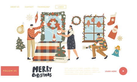 People Prepare to Celebrate Xmas Landing Page Template. Happy Characters Decorate Home Windowfor Christmas