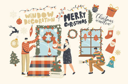 Happy Characters Decorate Home for Christmas. Family or Friends Hanging Baubles, Garland and Fir Tree Wreath on Window