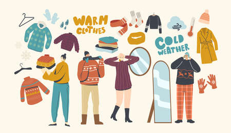 Male or Female Characters Wearing Warm Clothes Young People in Woolen Knitted Handmade pullover, Scarves and Hats Illustration