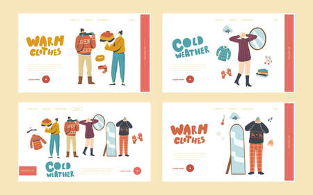 Characters Wearing Warm Clothes Landing Page Template Set. People in Knitted Handmade Pullover, Scarves and Hats