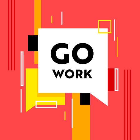 Go Work Banner with Abstract Pattern and Speech Bubble on Red Background. Headhunting, Human Resource Research Illustration