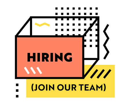 Hiring, Join Our Team Recruitment Banner with Typography or Geometric Trendy Linear Shapes. Open Vacancy Design Template Illustration