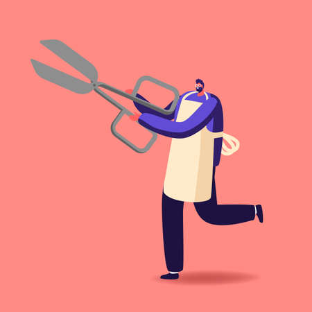 Tiny Male Character Wearing Apron Holding Huge Scissors. Barber with Tool or Equipment for Hair Cutting. Barber Shop