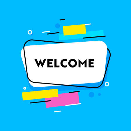 Welcome Banner with Typography and Abstract Shapes on Blue Background. Creative Design Element, Decorative Quote