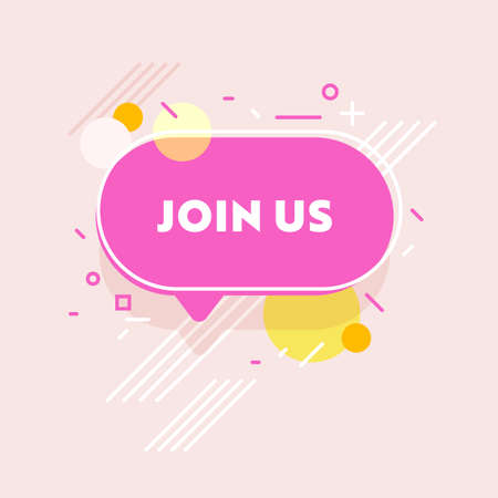 Join Us Banner with Abstract Pattern on Pink Background. Welcome to the Team Headhunting and Human Resource Research
