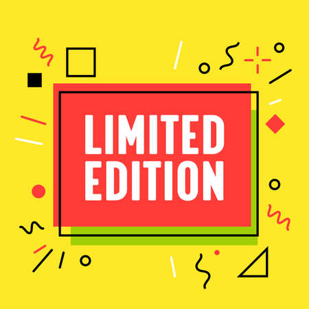 Limited Edition Banner in Funky Style for Digital Media Marketing Advertising. New Arrival Offer, Shopping or Discount Illustration