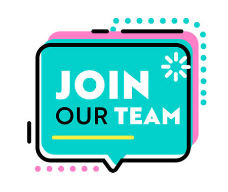 Join Our Team Banner for Job Hiring Agency with Abstract Pattern and Speech Bubble on White Background, Headhunting