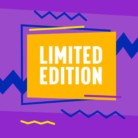 Limited Edition Trendy Funky Style Banner with Colorful Geometric Shapes and Pattern on Violet Background, Template