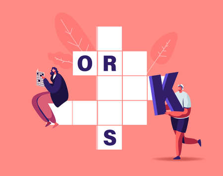 Tiny Characters Put Huge Letters in Empty Crossword Boxes. People Solve Riddle, Spare Time Recreation, Brain Training Ilustración de vector