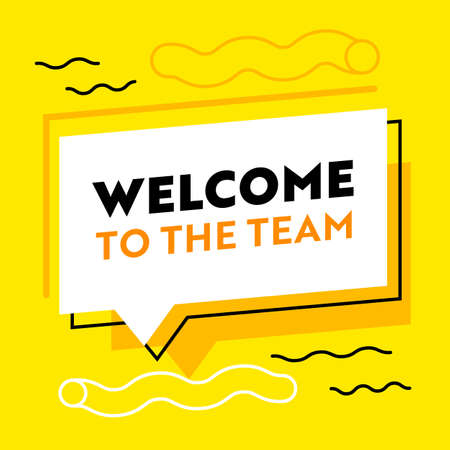 Welcome to the Team Banner for Job Hiring Agency with Abstract Pattern on Yellow Background with Speech Bubble
