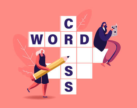 Tiny Female Characters with Pencil Solve Huge Crossword. Logic Game Spare Time Recreation, Brain Training Puzzle Solving
