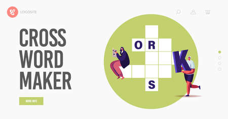 Recreation, Brain Training, Puzzle Solving Landing Page Template. Tiny Characters Put Huge Letters in Crossword Boxes Stock Illustratie