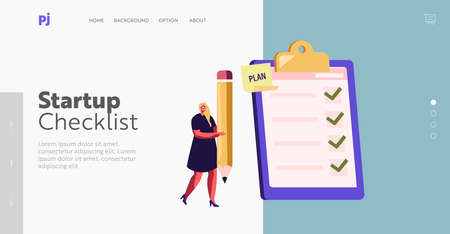 Business Woman Planning, Make Notes in Textbook Landing Page Template. Tiny Businesswoman Character with Huge Pencil Stock Illustratie