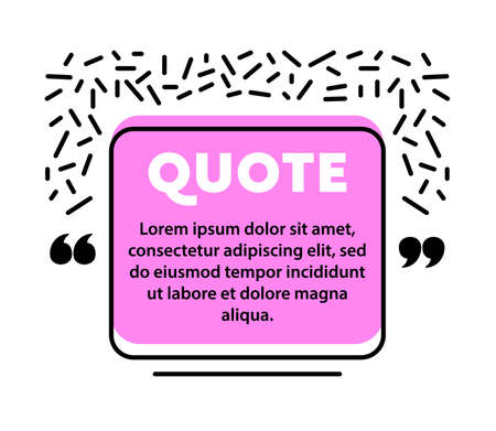 Quote Speech Bubble, Blank Layout Template, Quote Box Frame. Remark, Mention Quotation and Callout Text in Trendy Style