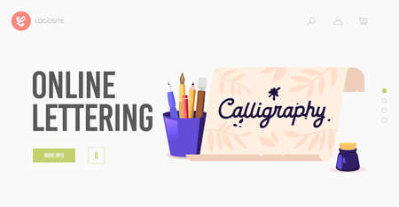 Calligraphy or Lettering Landing Page Template. Scroll and Professional Instruments Pens, Quills and Inkwell for Writing Stock Illustratie