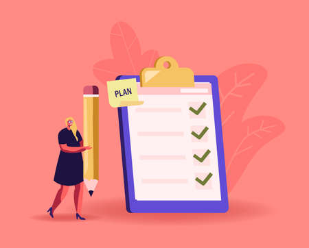 Tiny Businesswoman with Huge Pencil at Checklist with Marks in Check Boxes on Clipboard. Business Woman Planning Stock Illustratie