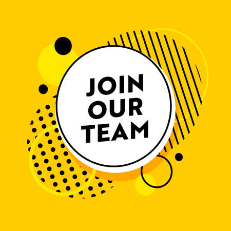 Join Our Team Banner for Job Hiring Agency with Abstract Pattern on Yellow Background. Headhunting, Business, Marketing Illustration