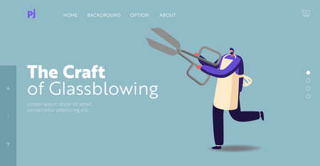Tiny Male Character Wearing Apron Holding Huge Scissors Landing Page Template. Barber with Tool for Hair Cutting Illustration