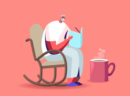 Senior Grey Haired Man in Glasses Sitting in Rolling Chair Drink Tea and Solving Crossword Aged Male Character Sparetime