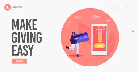 Charity, Contribution and Help Landing Page Template. Tiny Female with Bank Card Use Mobile Application for Donation Illustration