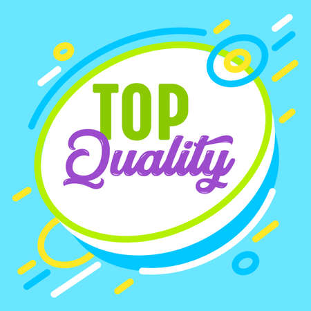 Top Quality Banner in Trendy Style with Geometric Abstract Shapes. Marketing Promotion Certificate, Excellent Product