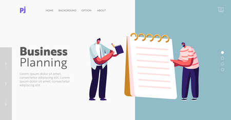 Business Planning, Author Occupation Landing Page Template. Tiny Male Characters Writing with Pen on Huge Notebook