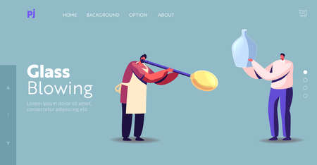Glassblowing Antique Craftsmanship Landing Page Template. Tiny Glassblower Male Character Blowing Huge Glass Bubble