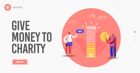 Charity Landing Page Template. Contribution, Tiny Male Female Character Making Donation Help to People in Need, Donate