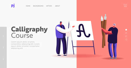 Tiny Men with Huge Pen Practicing in Spelling Lettering and Calligraphy Landing Page Template. Male Character Writing