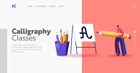 Tiny Woman with Huge Pen Practicing Spelling Lettering and Calligraphy Landing Page Template. Female Character Writing