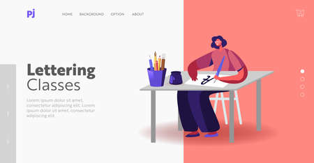 Female Character Writing Letters Landing Page Template. Woman Sitting at Table with Pen Practicing in Spelling Lettering Illustration