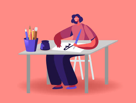 Woman Sit at Table with Pen Practicing in Spelling Lettering and Calligraphy Concept. Female Character Writing Letters Vecteurs