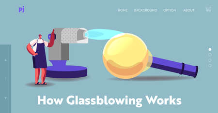 Glassblowing Decor Producing Manufacture, Craft Landing Page Template. Tiny Glassblower Create Decor Blowing Glass Piece