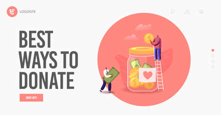 People Giving Money Landing Page Template. Donation, Volunteers Charity. Tiny Characters on Ladder Throw Coins in Jar Stock Illustratie