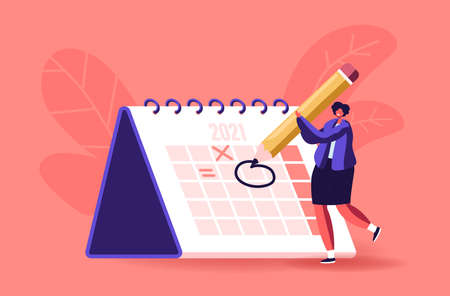 Female Character Circle Date on Huge Calendar Planning Important Matter. Time Management, Work Organization, Reminder Illustration