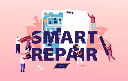 Smart Repair Concept. Tiny Characters with Instruments Assembling Huge Smartphone. Men and Women Fixing Cellphone Stock Illustratie