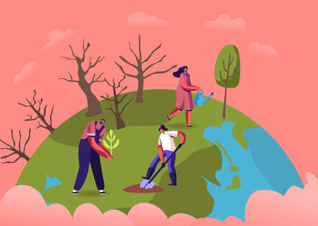 Revegetation, Forest Restoration, Reforestation and Planting Trees. Volunteer Characters Care of Green Plants Watering Stock Illustratie