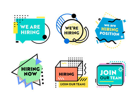 Set of Banners for Recruiting and Job Hiring. Business Poster Design, We Are Hiring Typography with Geometric Shapes