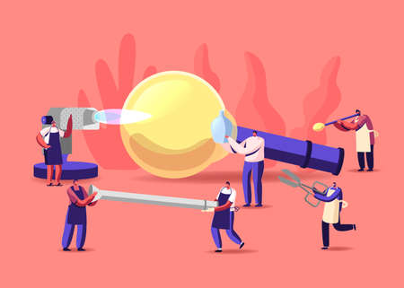 Glassblowing, Glass Decor Producing Concept. Tiny Characters with Huge Tools and Instruments Create Beautiful Glasswork Vector Illustratie