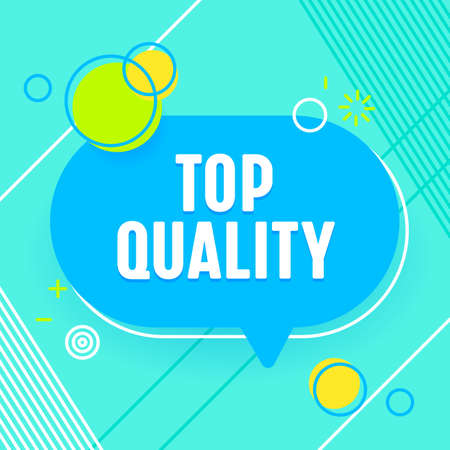 Top Quality Banner, Commercial Poster in Trendy Style with Geometric Shapes on Blue Background. Marketing Certificate